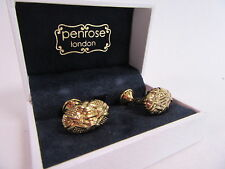Penrose of London Designer Gold Plate Zephyr Oval Knot Cufflinks RRP £110 #CL61