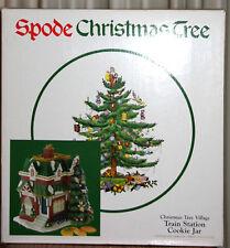 """NIB 11 1/2"""" Spode Christmas Tree Train Station Cookie Jar"""