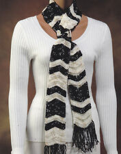 Crochet Pattern ~ LADIES SILVER & GOLD RIPPLE SCARF ~ Instructions