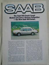 Saab 900 range poster brochure 1980