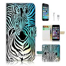 """iPhone 6 Plus (5.5"""") Print Flip Wallet Case Cover! Zebra Wave P0493"""