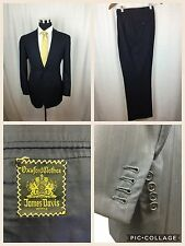 Oxxford Clothes 41 42 Navy Pinstripe Suit Bespoke Pants Jacket Surgeons Cuffs