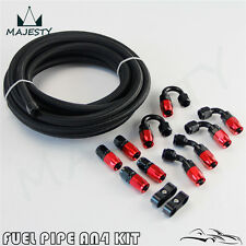 AN4 4AN -4AN Stainless Steel Nylon Braided Oil Fuel Line Hose End Adaptor Kit