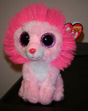 "Ty Beanie Boos ~ FLUFFY the 6"" Valentine Lion ~ 2014 NEW ~ MINT with MINT TAGS"