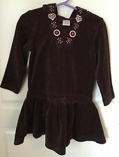 BROWN VELOUR HOODED DRESS BY GYMBOREE SIZE 4 ALPINE SWEETIE