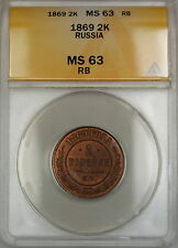 1869 Russia 2K Kopecks Coin ANACS MS-63 RB Red Brown *Scarce Condition*