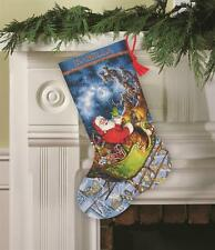 Counted Cross Stitch Kit SANTA'S FLIGHT STOCKING Dimensions Gold Collection