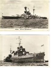 Lot of 2 RPPC-HMS Sheffield, HMS Royal Sovereign circa 1938