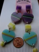 Tarina Tarantino Earrings Awesome Collection Hearts Bright Stripe Long NWT LOVE