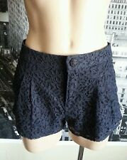 """NWT FOREVER 21 Pleated LACE Classy SHORTS Classic Rise DARK NAVY Zip sz 26 29"""" W"""