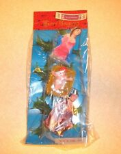 Vtg Christmas Plastic Nativity Ornaments Floral Picks Hong Kong New in Pkg 3 Pcs