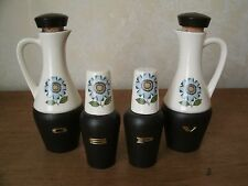 Vintage Ceramic & Wood Salad Cruet S & P Set Japan - blue flower