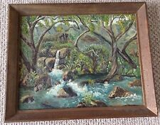 Vintage Oil Painting Liliuokalani Park Honolulu By Dora Gantt 1958