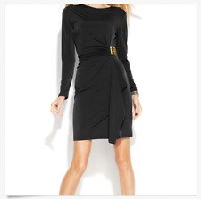 Michael Kors Black Dress Long Sleeve Gold buckle Sheath Size M $130