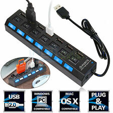 7 Port USB 2.0 Hub with ON/OFF Switch High Speed Multi Charger For PC Laptop Mac
