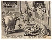 Jan van der Straet (Stradanus) Galle Kupferst 1579 Elefant-Römer-Gladiator-Kampf