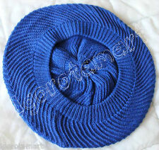 Lightweight Blue Hat Swirl Top Braided Slouchy Baggy Beanie Beret Cap Oversized