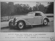 PUBLICITÉ 1936 LA 6 CV GEORGES IRAT TRACTION AVANT 4 ROUES INDÉPENDANTES