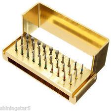 30 Dental Diamond Burs Drill + Disinfection Sterilization Box Block Holder Stand