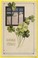 cpa  Belle Carte ART NOUVEAU en Relief TRÈFLES à 4 Feuilles BONNE ANNÉE 1912