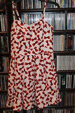 Marilyn Monroe brand White w Red Bow Pattern Sundress  Dress  S Rockabilly(b108)