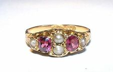 Original Antique 15ct 15K Solid Rose Gold Rhodolite Garnet & Pearl Ring c1890s