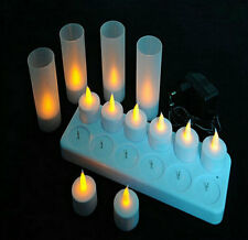 12 pcs LED Rechargeable Flameless Tea Light Candles with Votives 220V