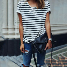 Womens Summer Short Sleeve Striped Blouses T-shirt Ladies Casual Sailor Tee Tops