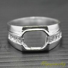 Ring Setting Sterling Silver Octagon 8x7mm. size 9