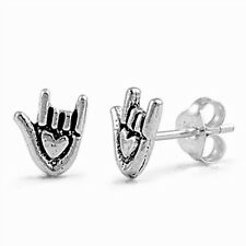 Silver I Love You Hand Gestures Stud Earrings Sterling Silver 925 Jewelry 8mm