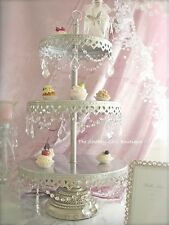 Shabby Crystal Prisms & Garlands Chic Silver 3 Tier Cupcake Pewter Cake Stand Nw