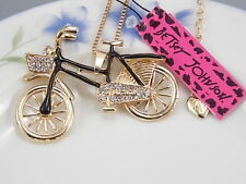 Betsey Johnson fashion jewelry Cute Crystal black bicycle pendant necklace #F116