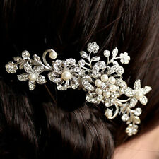 HOT Lady Rhinestone Bridal Wedding Flower Pearls Headband Hair Clip Comb Jewelry