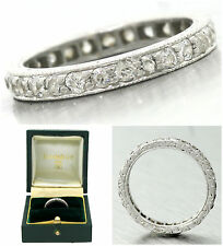 Ladies Antique 1920s Platinum Hand Carved Eternity Diamond Wedding Band Ring
