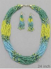 Multi Strand Multi Green Blue Yellow Glass Seed Bead Necklace Earring