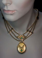 Victorian Era Antique Jewelled Gold Locket Necklace