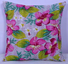 """16"""" INDIAN CUSHION PILLOW GREY COVER Kantha Ethnic Vintage Traditional Decor Art"""