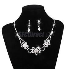 Bridal Necklace and Earring Set Wedding Rhinestone Jewelry Prom Earrings