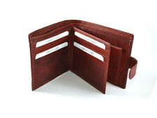 Men's Genuine Leather Wallet Credit Card slot Coin Pocket with Loop Cherry