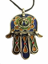 Moroccan Tribal Pendant Leather Necklace Hansa Khamsa Lucky amulet kabbalah Hand