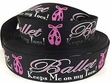 "BTY Black 1"" Ballet Dance Grosgrain Ribbon Hair Bows Lanyards Lisa"
