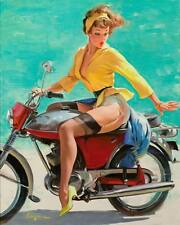 VINTAGE PINUP GIRL Gil ELVGREN CANVAS PRINT Poster Sexy Girl on motorcycle A3