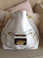 DOLCE & GABBANA WHITE AND GOLD LEATHER SHOULDER BAG