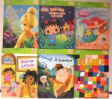 Toy LeapFrog Tag Reader Lot of 6 FRENCH Books EUC Dora Elmer Clochette Ariel