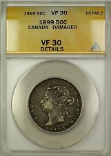 1899 Canada Silver 50c Fifty Cents Coin ANACS VF-30 Details Damaged