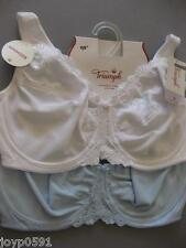 (2) TWIN PACK TRIUMPH Embroidered Minimizer Bra 14F/36F Bra White/Blue Rrp $90