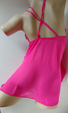 "Pretty Pink Short Sheer Chiffon Babydoll Chemise Nightwear UK 8/10   32-34"" bust"