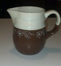 Universal/Oxfordware Potteries SNOWDROP Snow Flower Brown Cream Milk Pitcher (B3