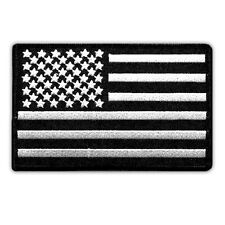 USA FLAG US EMBROIDERED PATCH SUBDUED BLACK-WHITE BLACK BORDER HOOK LOOP 4""
