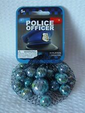POLICE OFFICER- Net Bag Of 24 Player Mega Marbles & 1 Shooter-Instructions Facts